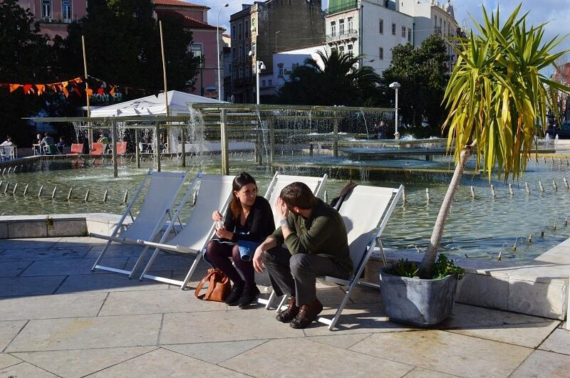Relaxing in Martim Moniz square, Lisbon