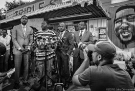 "Cameron Sterling, whose father, Alton Sterling, was killed by the police in Baton Rouge called for peace and for all people to be a ""united family"" at a press confernce at the store in Baton Rouge where his father was died."