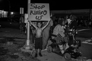 Terry Boatner, 9 years old at a protest in Baton Rouge after a vigil for Alton Sterling at the Triple S Food Mart, July 6, 2016.