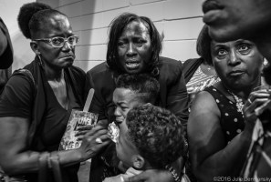 Veda Stirling, Alton Sterling's aunt, with members of the family mourning after a public funeral service that over 1000 people atteneded on July 15, 2016 in Baton Rouge.