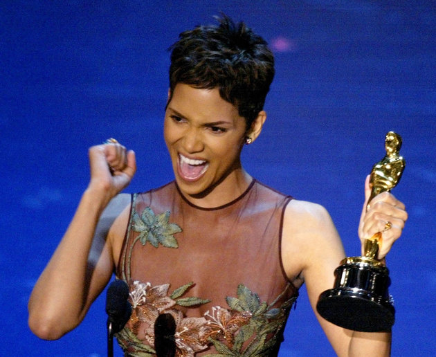 HALLE BERRY REACTS TO WINNING BEST ACTRESS AT THE ACADEMY AWARDS.