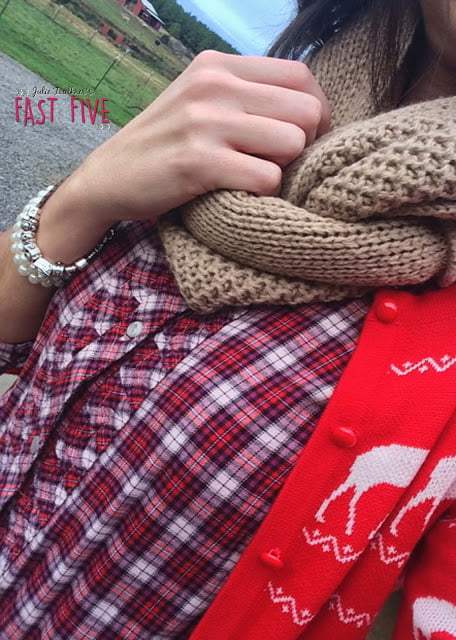 Red Reindeer Sweater, Plaid, Black Sperry Rain Boot