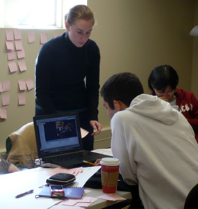 Me, Augusto, and Xiaohan, transferring our research data to post-its