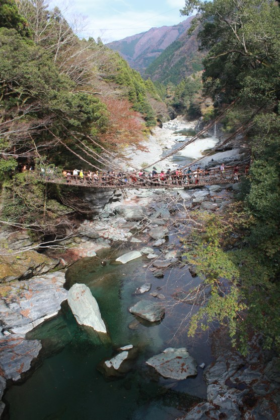 The old bridge crowded with tourists.