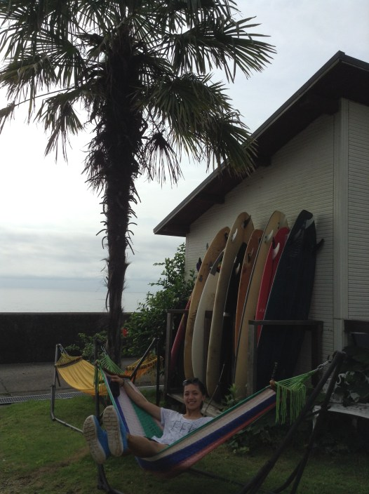 My friend Janice posing in front of the surf boards. A different feeling of relaxation!