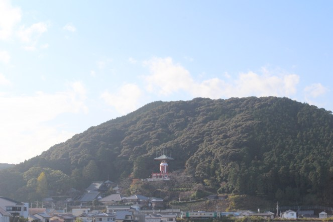 There's Yakuoji temple, a nice hello from the mountain.