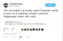 @YAWednesdays is hosting a buddy read of Juniper! Join them any time and hop on Twitter at 5:00pm EST July 26th to chat and Q&A with me!