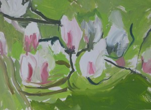 Magnolia painting by Julie Jones