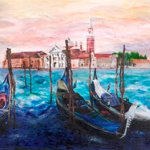 Misty Venice   Oil on Canvas by Julie Lovelock