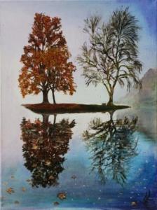 November Mist - Stourhead Reflections Series | Oil on Canvas by Julie Lovelock