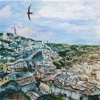 I Sassi, Matera by Julie Lovelock - Oil on Canvas