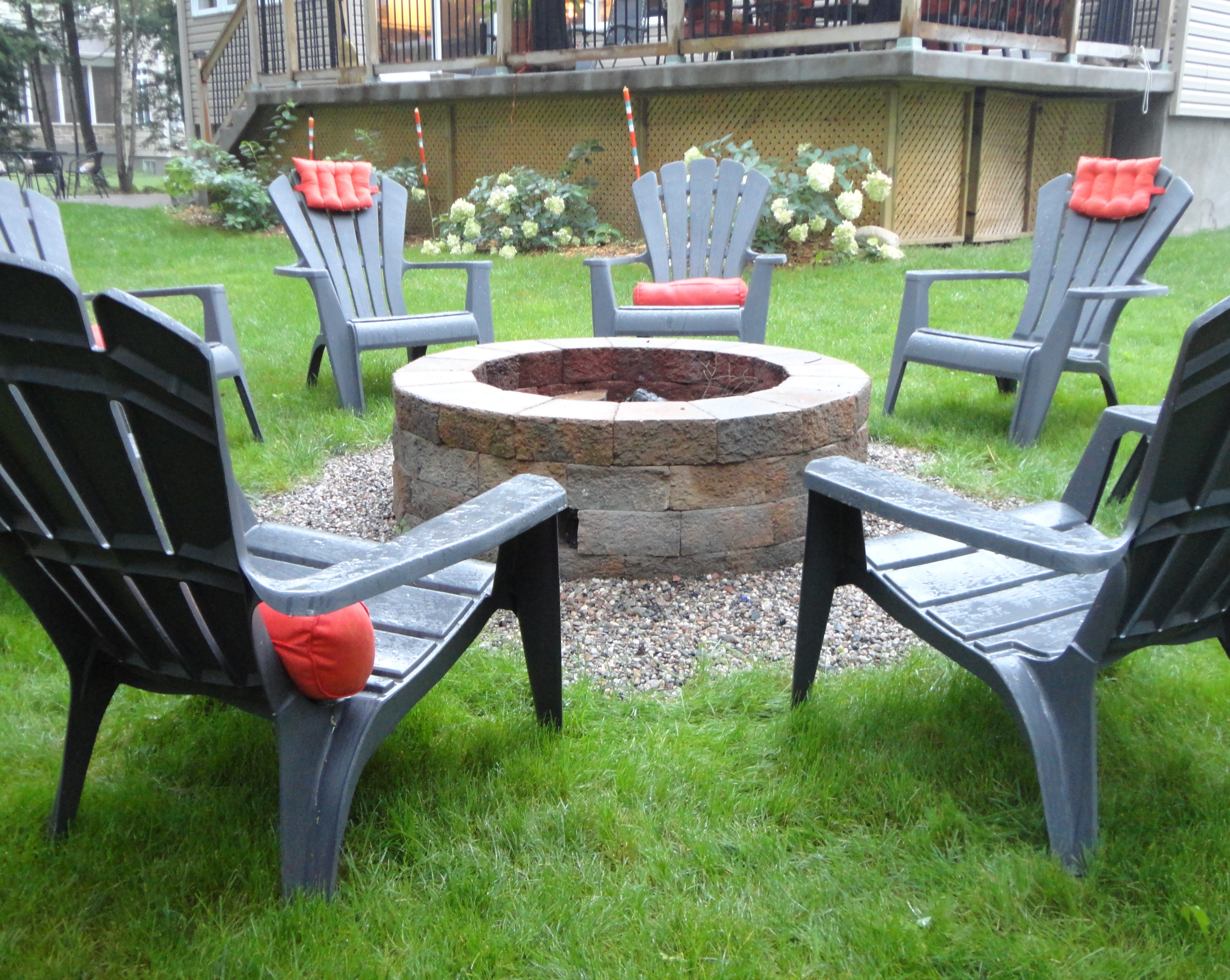 red adirondack chairs plastic office chair high back diy tales: building a backyard stone firepit by julie loves home | bob vila nation