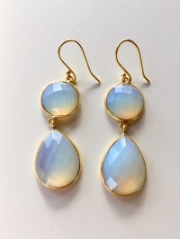 Moonstone Earrings Gold Dangling Chandelier Diamond And