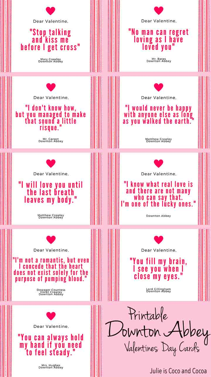 Printable Downton Abbey Valentines Day Cards