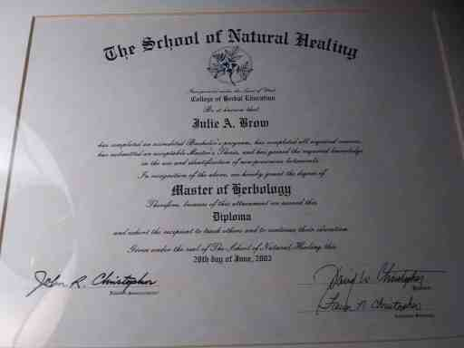 Julie Polanco's degree from the School of Natural Healing