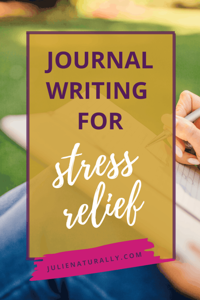 a woman sitting in the grass using journal writing for stress relief