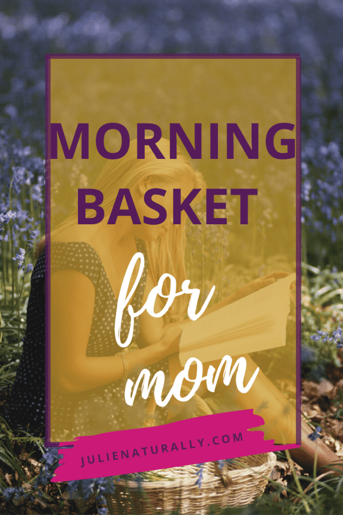 a woman sitting outdoors with a book from her morning basket for mom