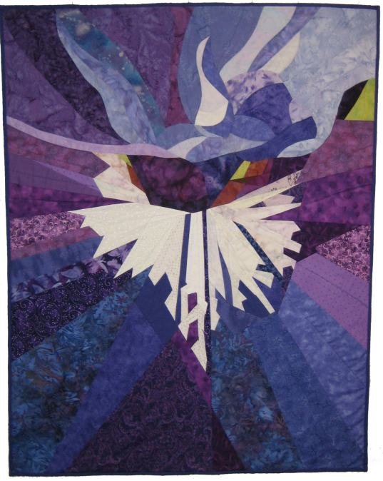 Iris, 2010. Based on my own photo and begun in a workshop with Ruth McDowell