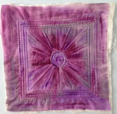 purple painted art quilt