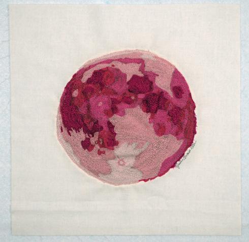 Julie Brown Neu, Cancer Ribbon Quilt Moon Shot block