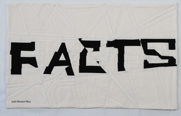 Alternative Facts art quilt in black and white