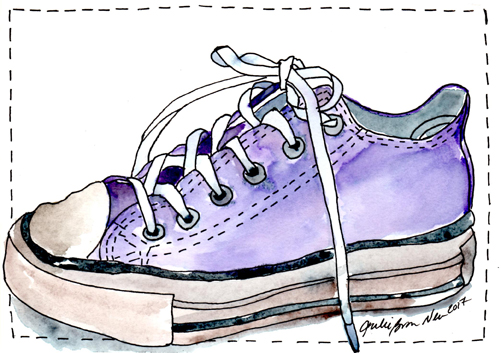 Julie Neu, watercolor painting of purple Chuck Taylor sneaker