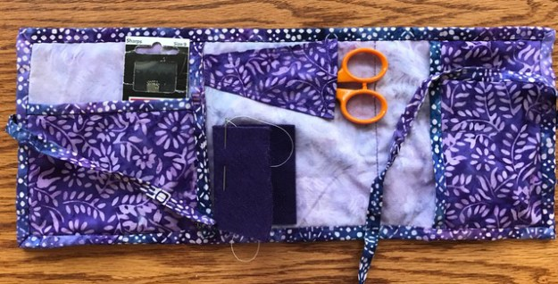 quilted travel sewing kit in purple batik fabrics