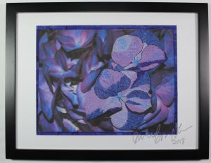 purple hydrangea thread painting