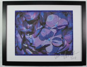 purple hydrangea thread painting