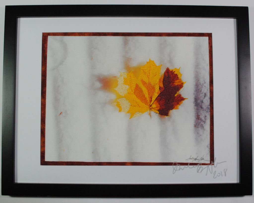 leaf in snow thread painting