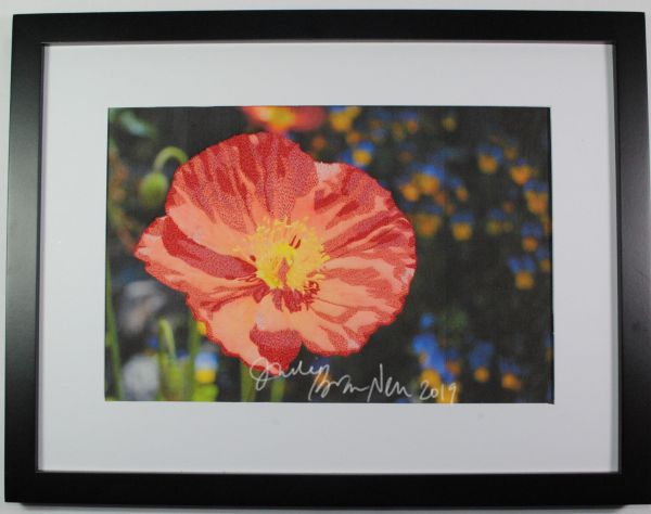 California poppy thread painting