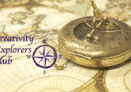 compass on old map with Creativity Explorers Club logo