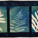 quilt of 3 cyanotype fern leaves