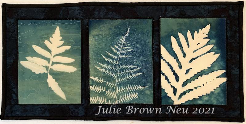 cyanotype of three fern leaves