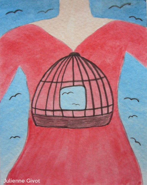 """Freedom Hangs Like Heaven   5.5"""" x 4.25""""   watercolor on paper"""