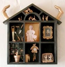 """Claudia's House 9"""" x 9"""" mixed media sculpture"""