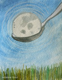 """Moon In A Spoon   5"""" x 3.75""""   watercolor on paper"""