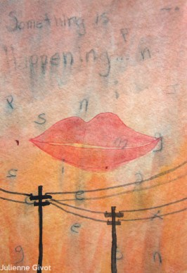 """Something is Happening   6"""" x 4""""   watercolor on paper"""