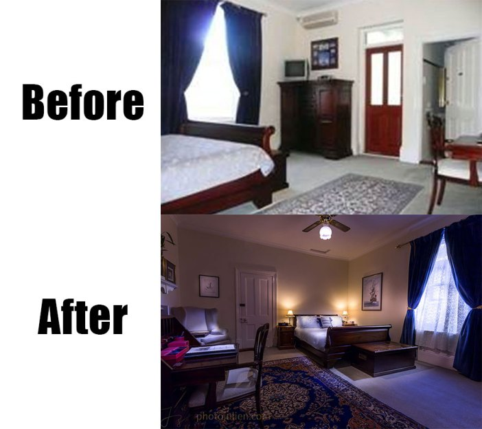 Real estate photography before and after-bed and breakfast in Fremantle Endeavour room