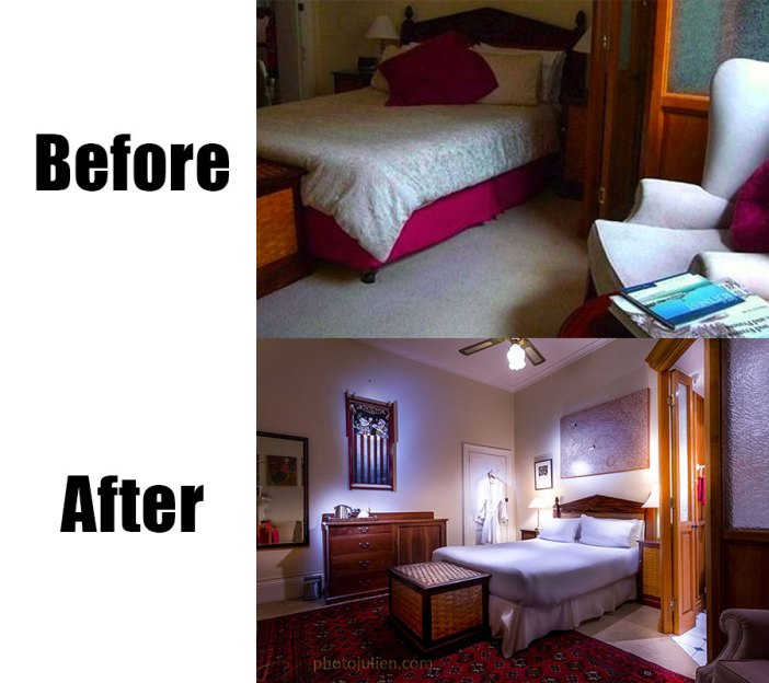 Real estate photography before and after-bed and breakfast in Fremantle Holdworth room