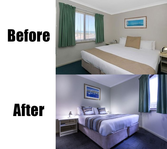 Real estate photography before and after-hotel room