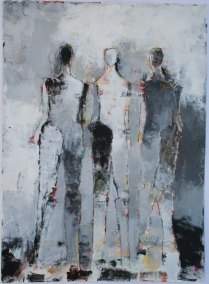 "3 Figure Study No. 22 <br> 30"" X 22"" Mixed Media on Paper"
