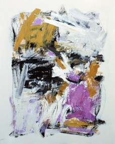 "Violet and Ochre II<br> 30"" X 24"" Mixed Media on Panel"