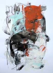 "Rust and Black No. 3<br> 24"" X 18"" Mixed Media on Paper"