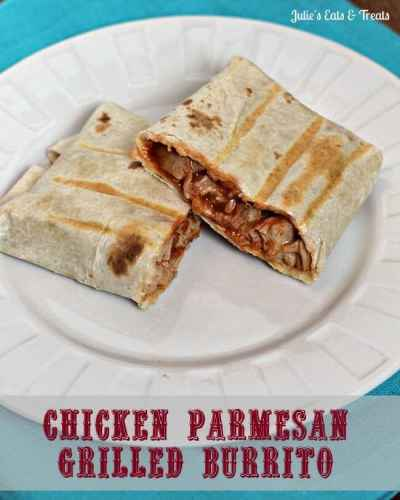 Chicken Parmesan Grilled Burrito ~ Fun twist on burrito and an easy lunch idea! via www.julieseatsandtreats.com