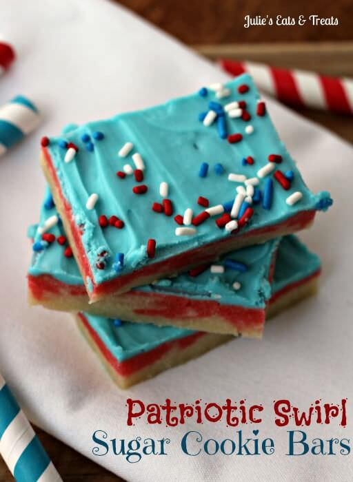 Patriotic Swirl Sugar Cookie Bars ~ Festive Red & White Swirled Sugar Cookie bars topped with blue cream cheese frosting! via www.julieseatsandtreats.com