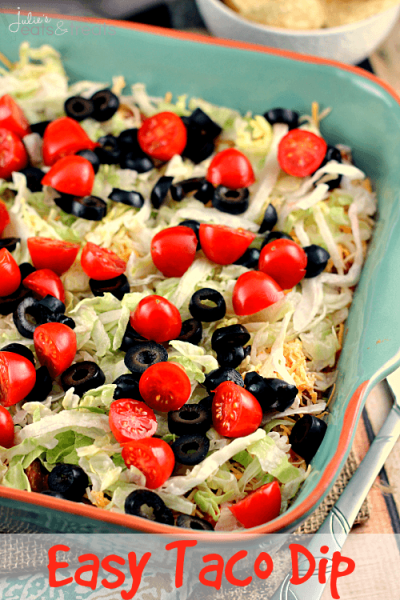 Easy Taco Dip Logo ~ Everyone Will Dig Into this Festive Taco Dip! Loaded with Sour Cream, Taco Seasoning, Salsa, Cheese, Lettuce, Tomatoes & Black Olives!