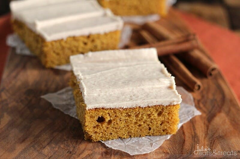 Pumpkin Bars with Cinnamon Cream Cheese Frosting ~ Perfectly Soft, Easy and Delicious Pumpkin Bars Topped with a Cream Cheese Frosting Spiced with Cinnamon