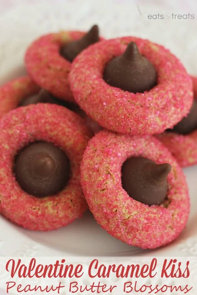 Valentine Caramel Kiss Peanut Butter Blossoms ~ Soft Peanut Butter Cookies with a Caramel Filled Kiss Rolled in Pink Sugar!