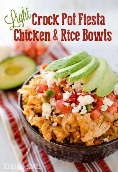 Light Crock Pot Fiesta Chicken & Rice Bowls Cropped